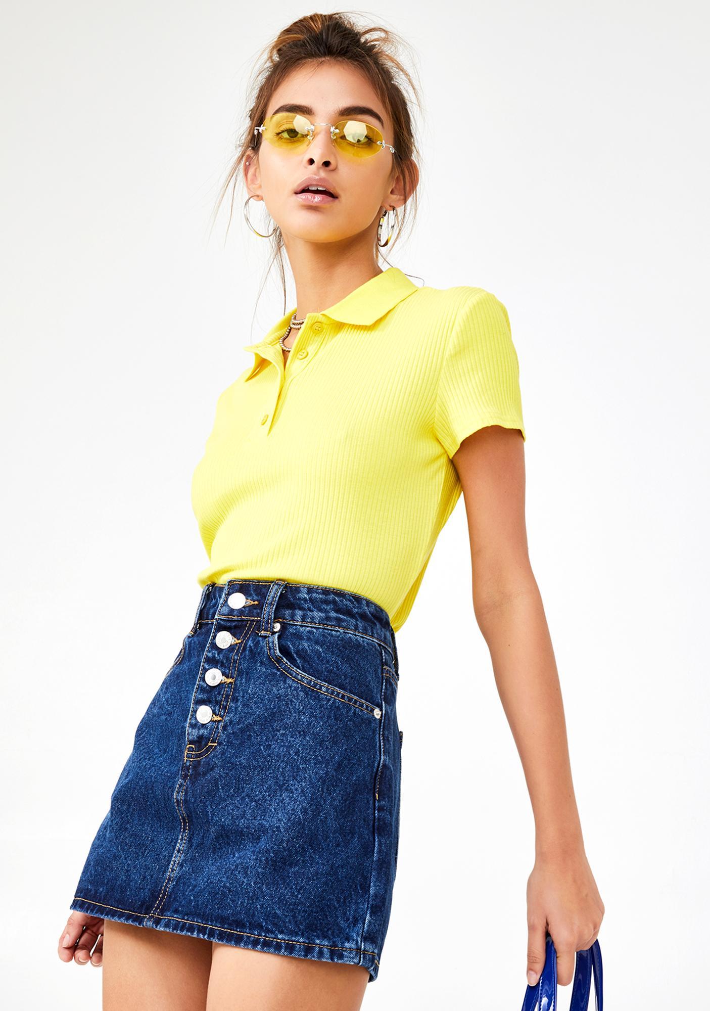 Momokrom Exposed Button Denim A-Line Skirt