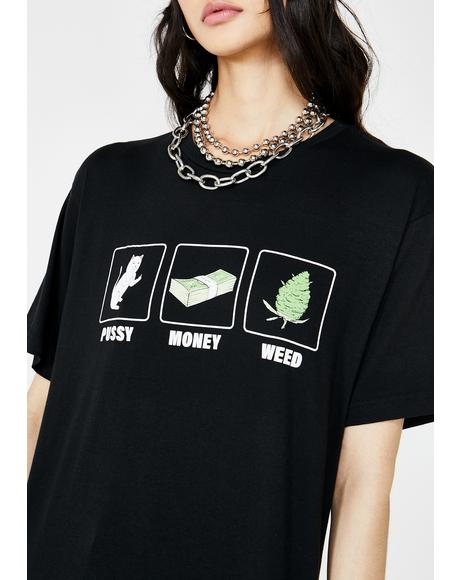 Pu$$y Money Weed Graphic Tee