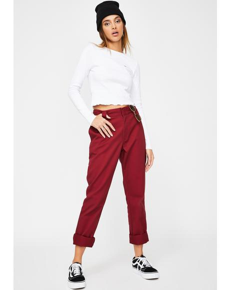 Burgundy Original Twill Worker Pants
