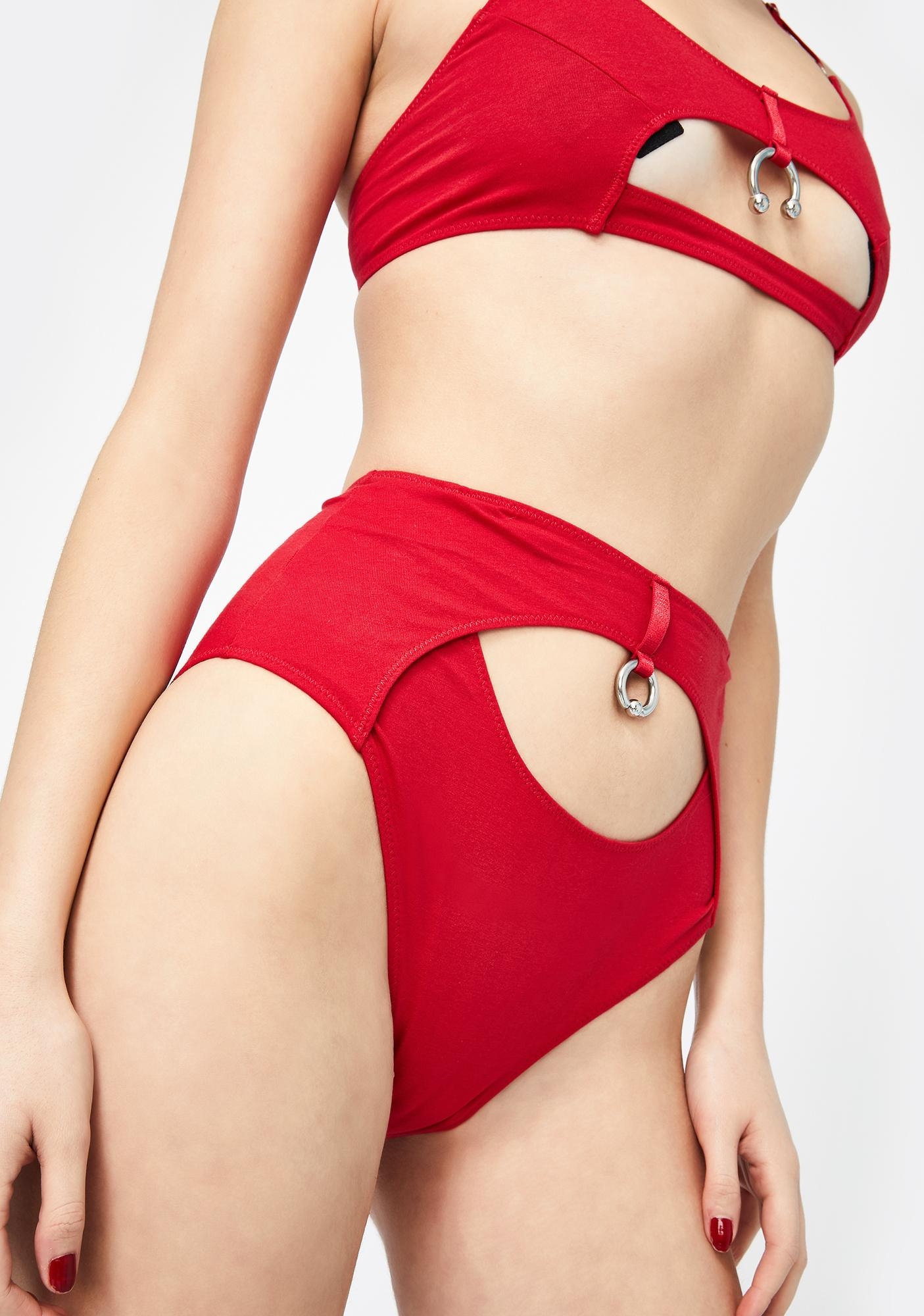 The End Lingerie Red Let Go High Waist Backless Briefs