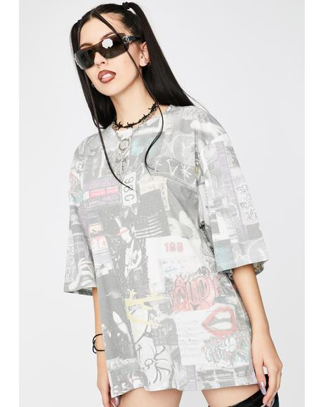 Mash Up Oversized Graphic Tee