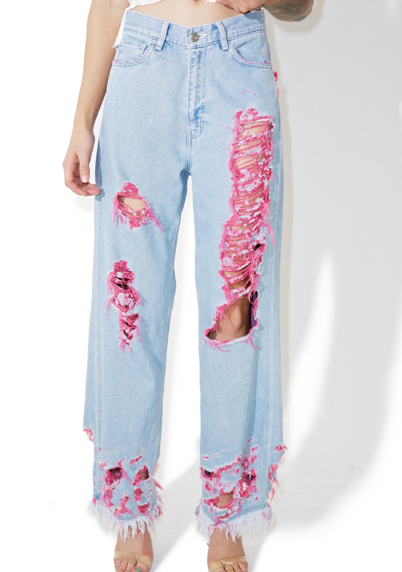 Little Sunny Bite Destroyed Pinky Denim Pants