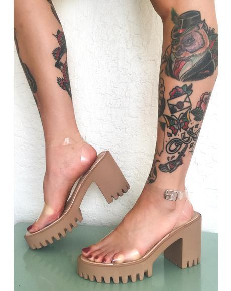 Clear Nude Nixie Platform Heels
