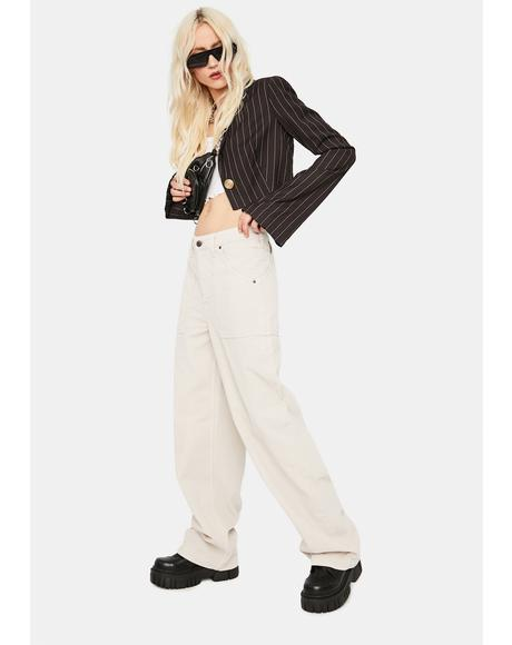 Ivory Corduroy Puddle Trousers