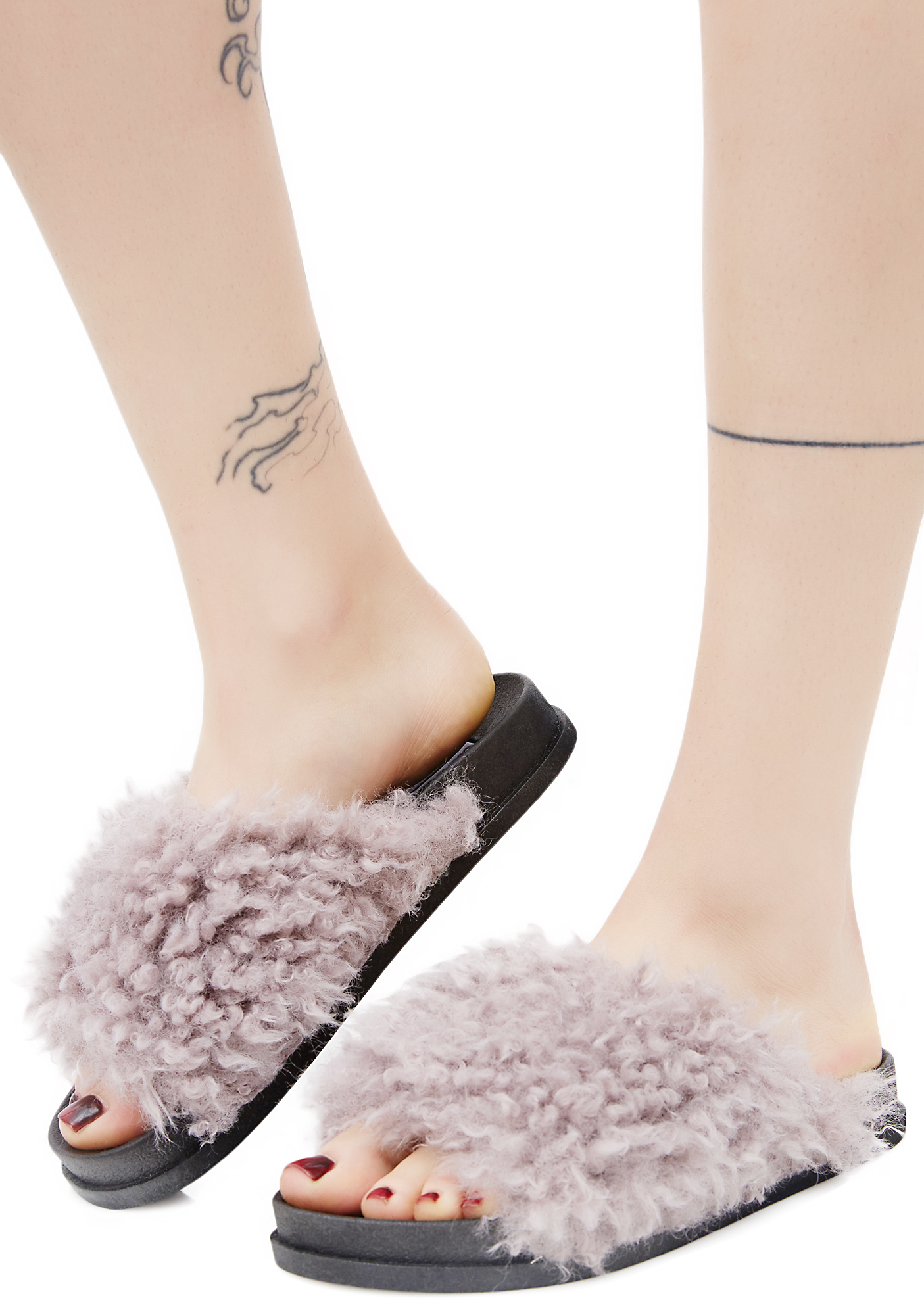 Shaggy Faux Fur Slide Sandals Purple Gray