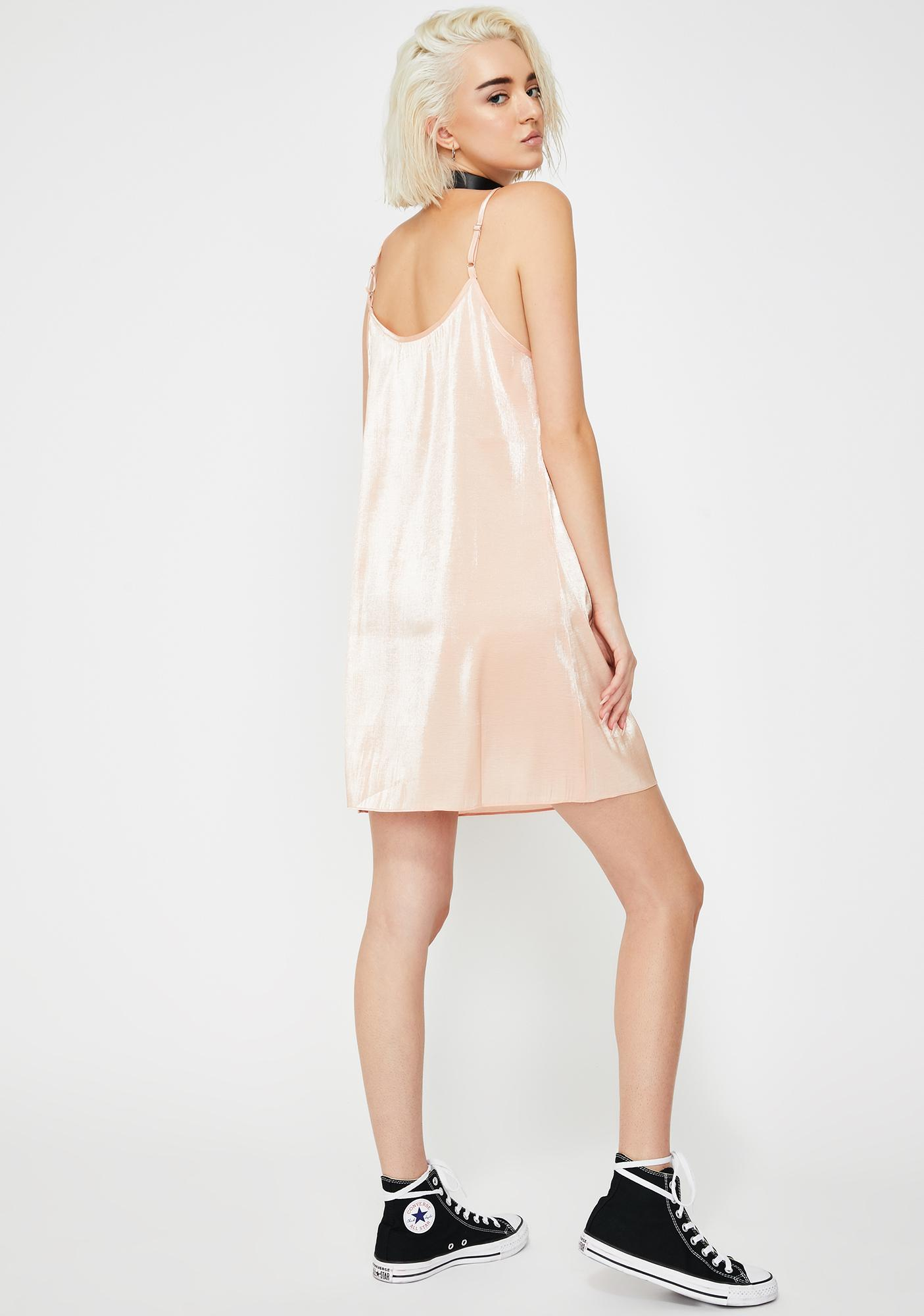 Glamorous Peach Metallic Mini Dress