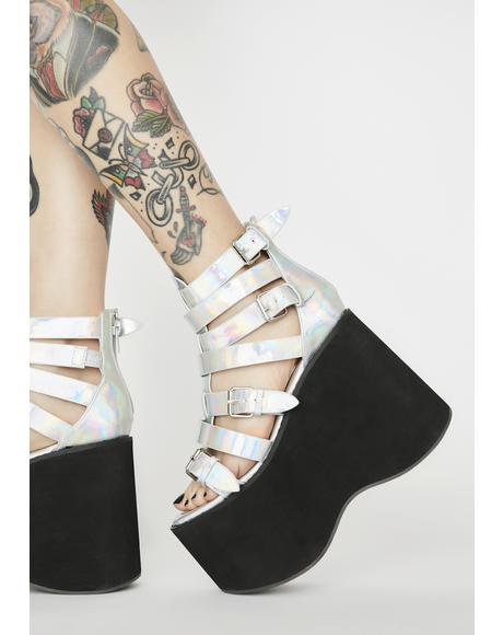Holographic Pick Your Player Platform Sandals