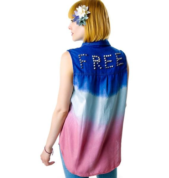 Wild N' Free Studded Ombre Cut Off