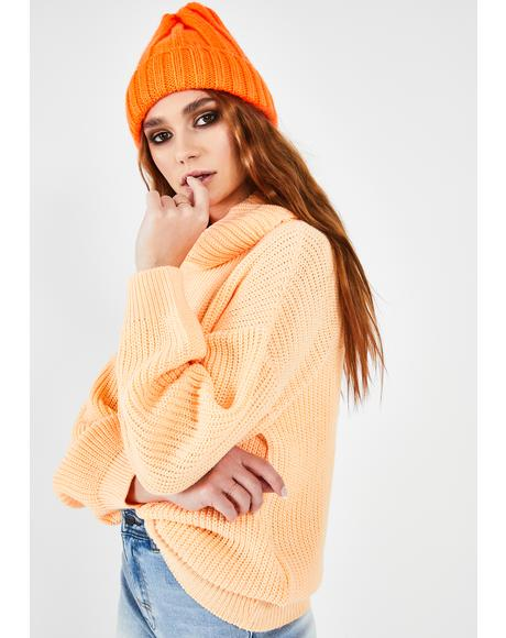 Apricot Ribbed Turtleneck Sweater