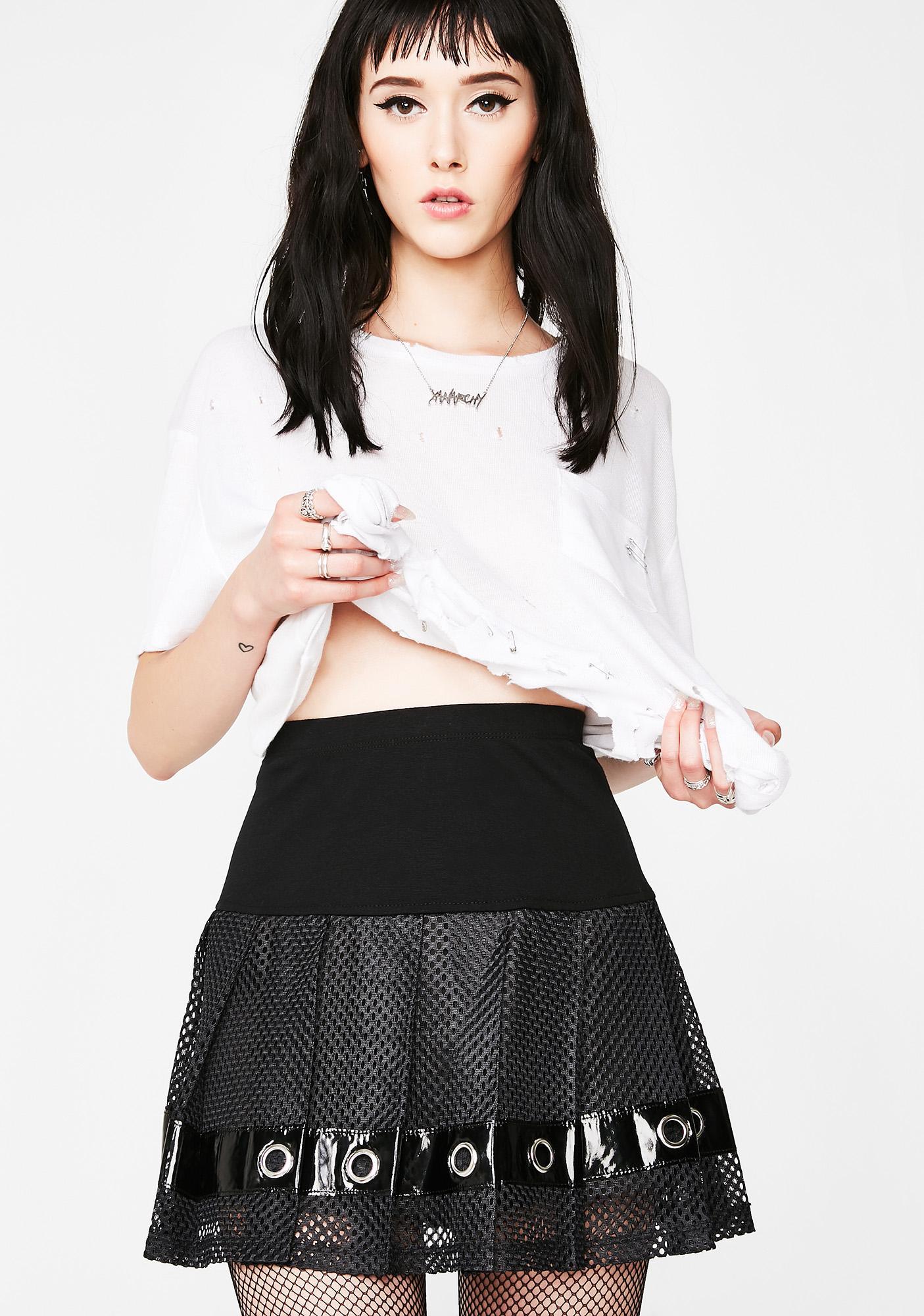 Tripp NYC Pleated Mesh Grommet Skirt