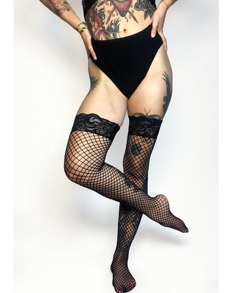Midnight Mamasita Fishnet Thigh Highs