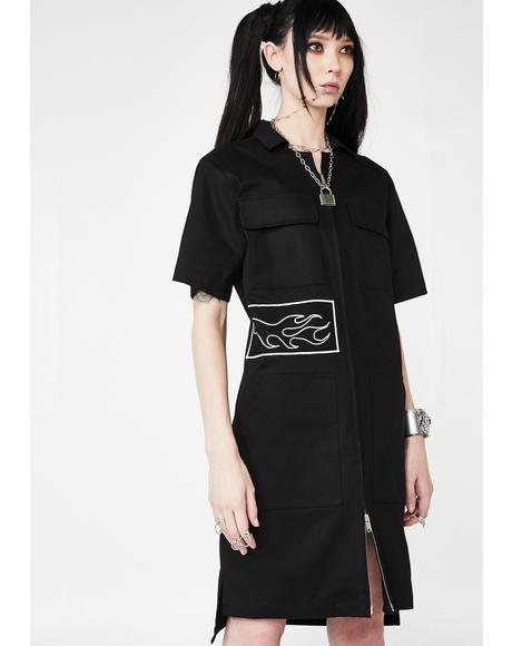Zipper Dress With Patches