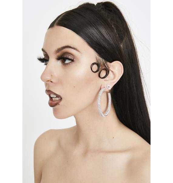 Baby Clout Chaser Rhinestone Hoop Earrings