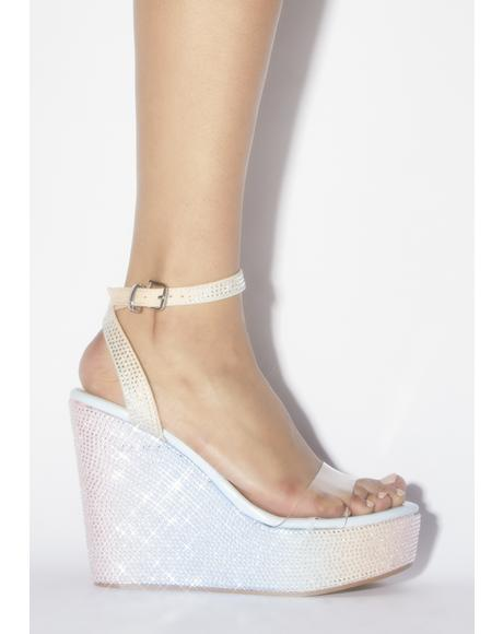 Blue Patent Pizzazz Wedge Heels