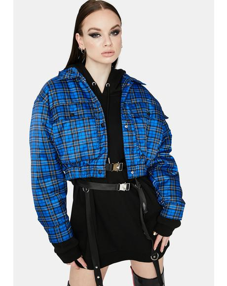 Babe Revolution Plaid Bomber Jacket