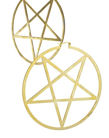 14K Gold Pentagram Hoop Earrings