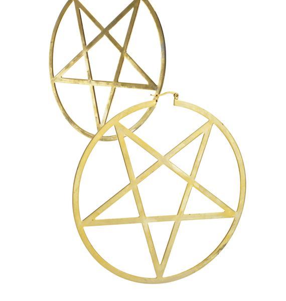 Killstar 14K Gold Pentagram Hoop Earrings