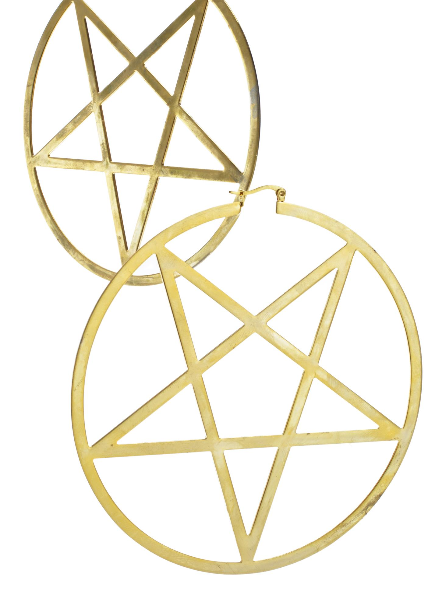 Killstar 14K Gold Pentagram Hoop Earrings