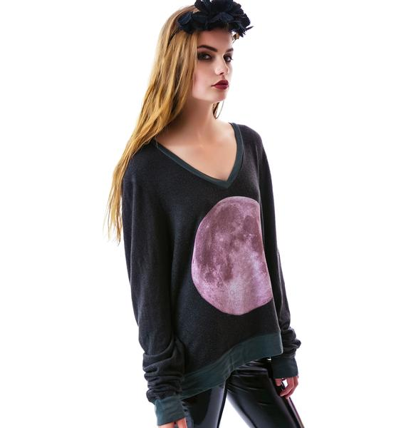 Wildfox Couture Pink Moon V Neck Baggy Beach Jumper
