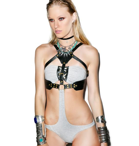 One Teaspoon Abbey Lee Leather Tiki Monokini