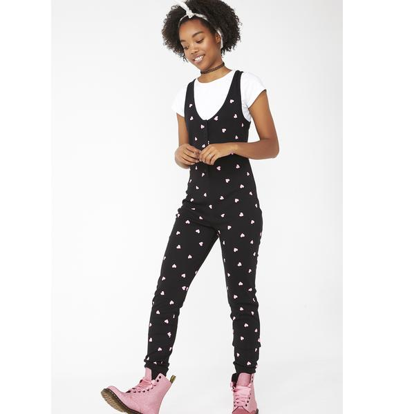 Wildfox Couture Midnight Falling Hearts Stay In Onesie