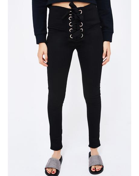 Dark Set The Bar Lace-Up Leggings
