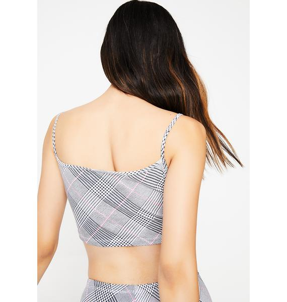 Motel Overblown Plaid Kini Crop Top