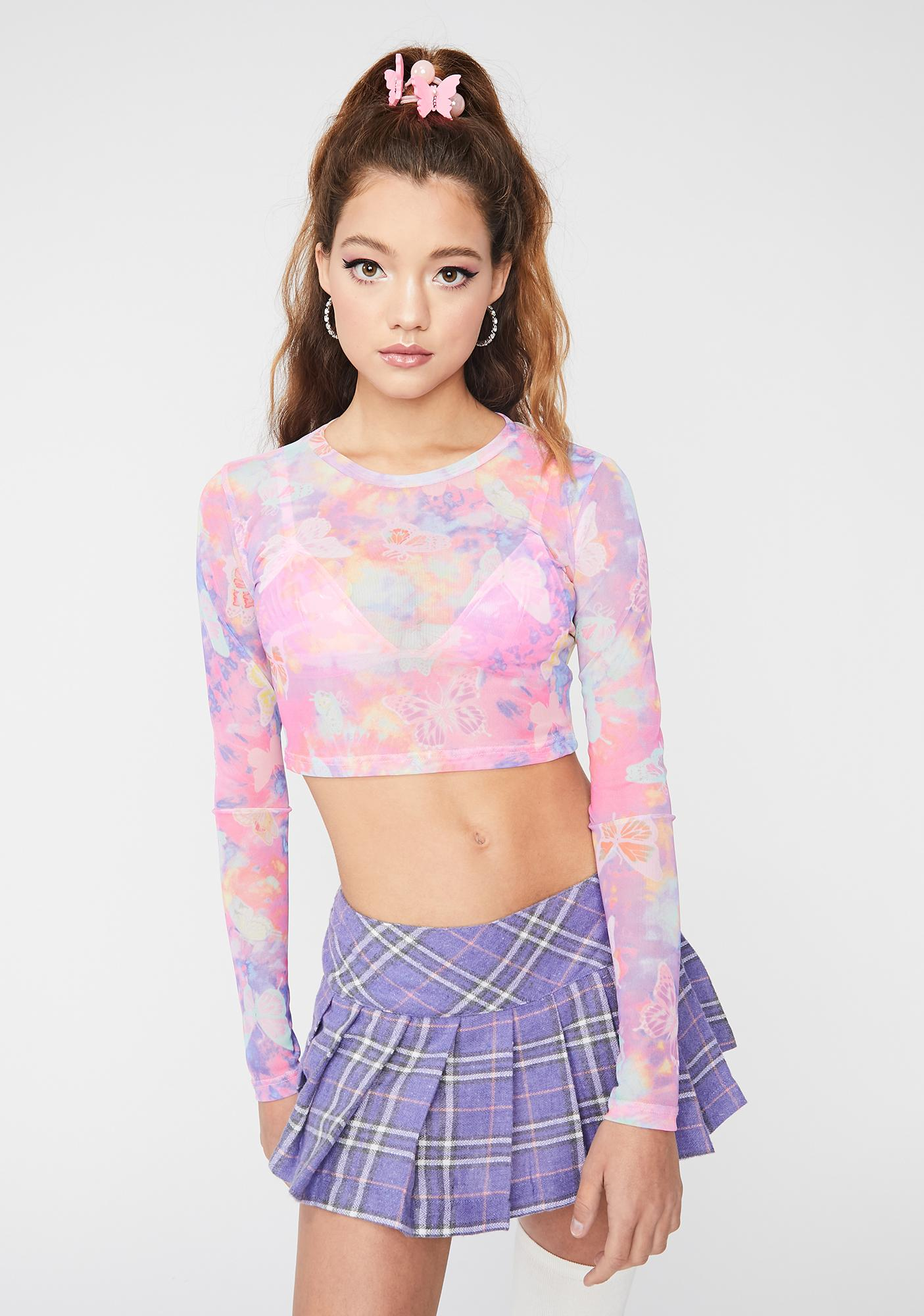 Psychedelic Butterfly Mesh Crop Top