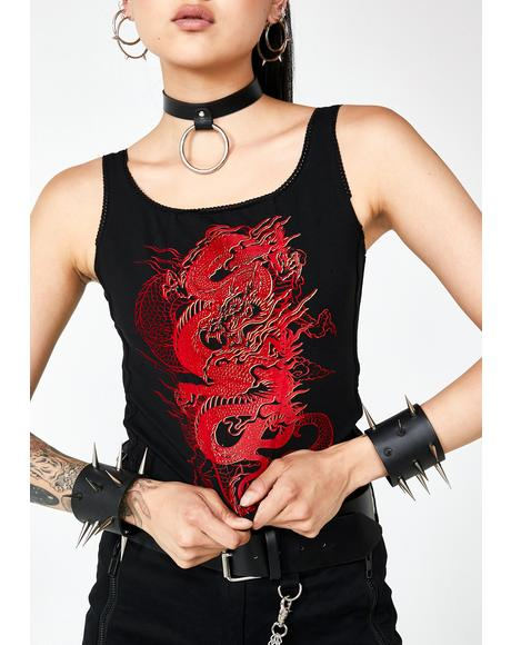Dragon Print Lace Up Back Crop Top