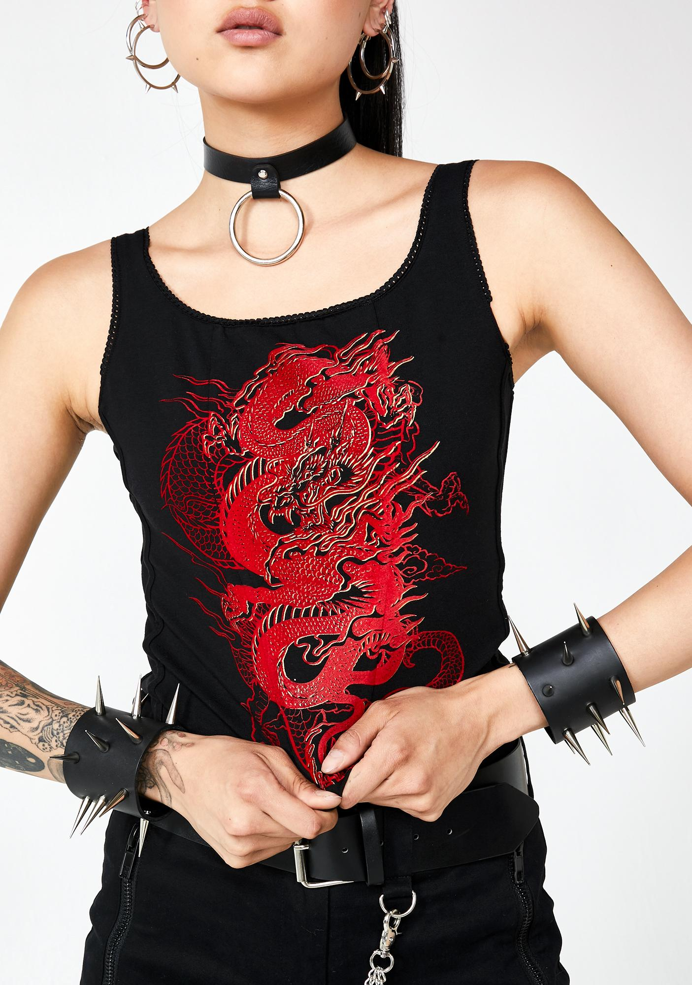 Jaded London Dragon Print Lace Up Back Crop Top