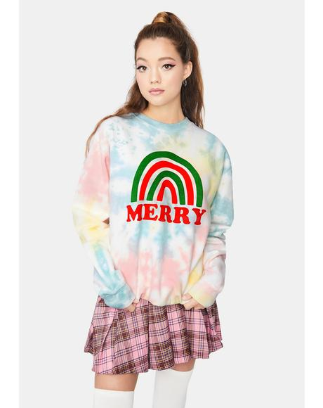 Feelin' Merry Tie Dye Sweatshirt