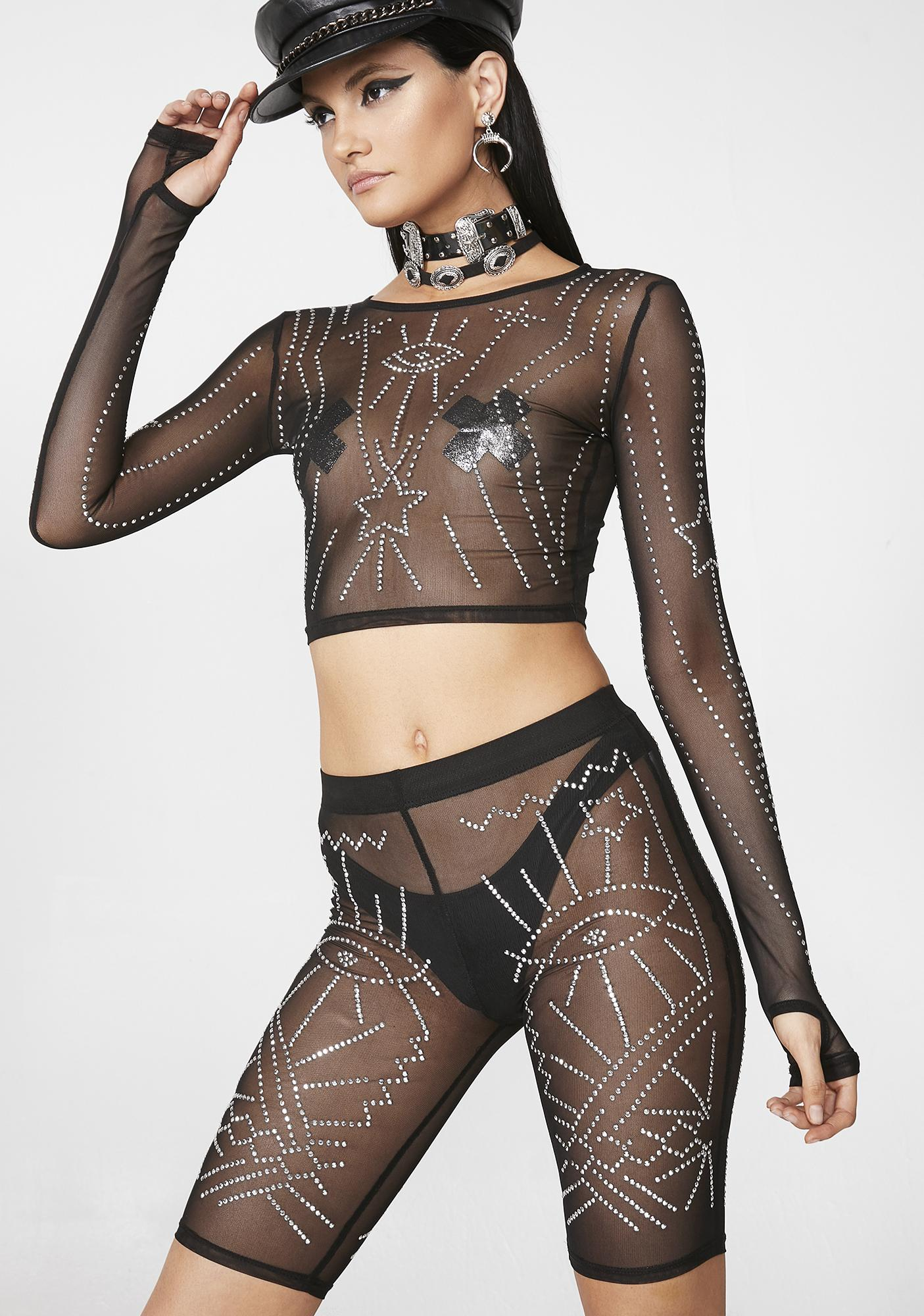 Club Exx Evil Eye Sheer Biker Shorts