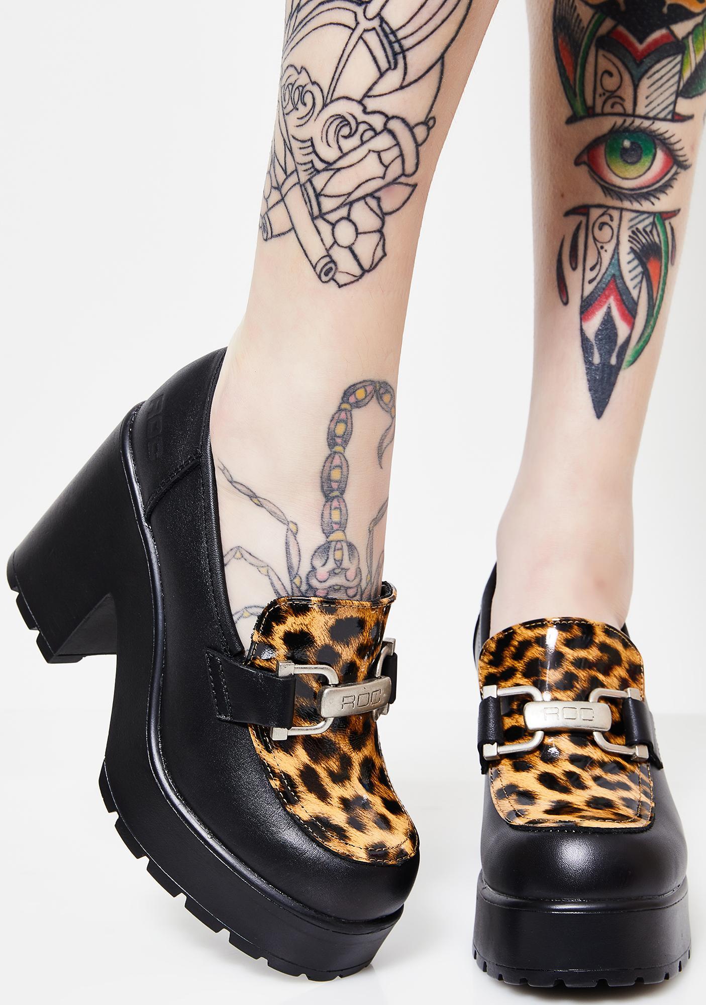 ROC Boots Leopard Platform Mules