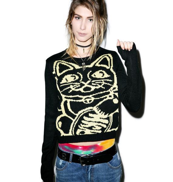 Mink Pink Lucky Cat Sweater