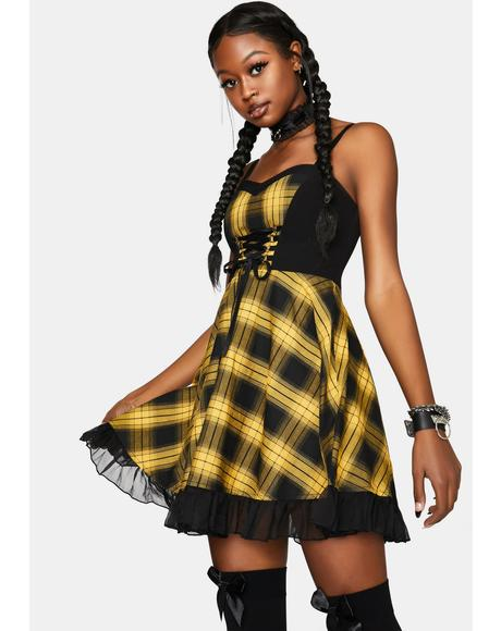 Stitched Plaid Braces Dress