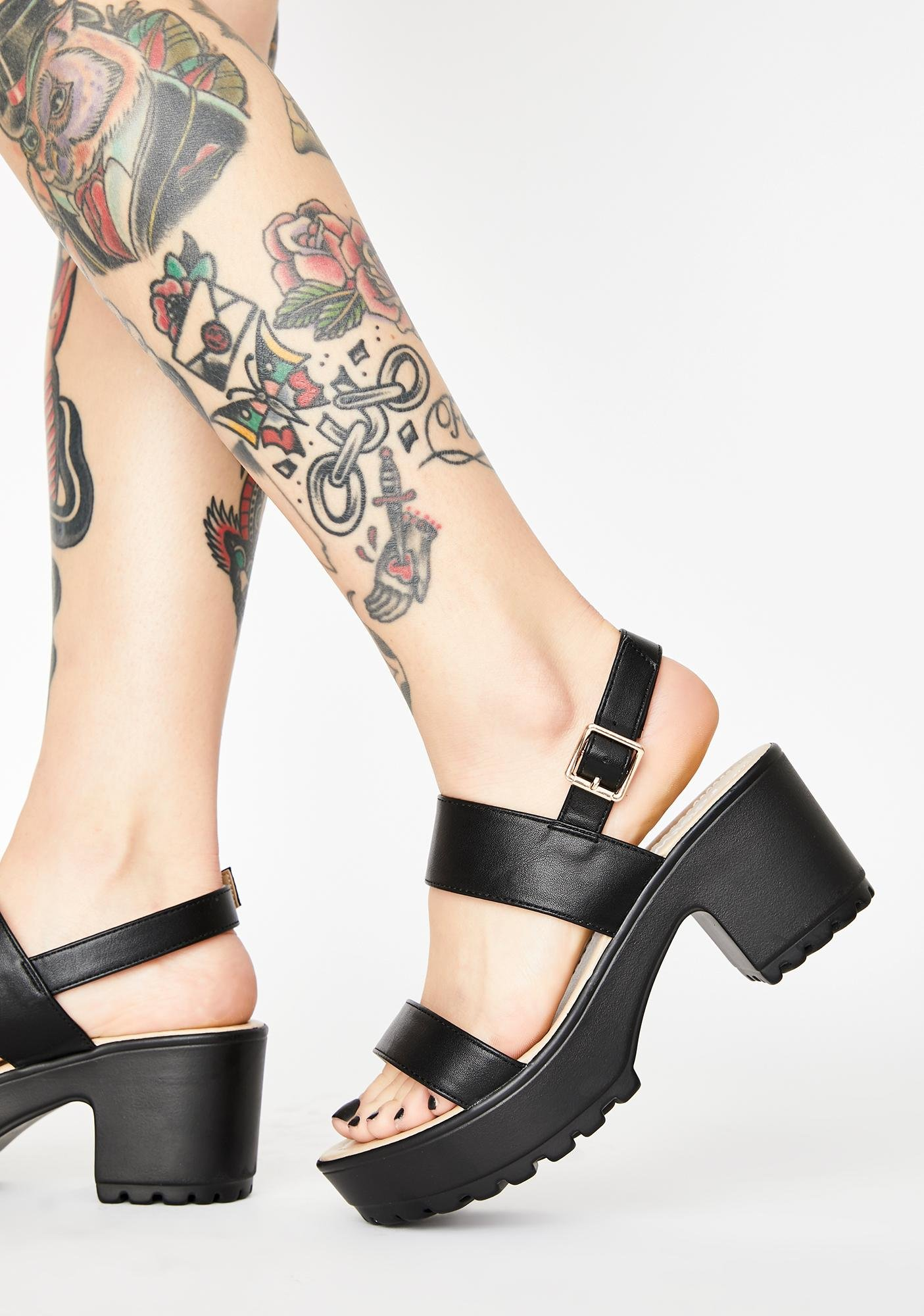 Koi Footwear Black Cleated Platform Sandals