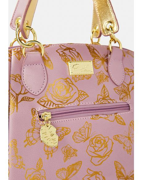 PVC Metallic Butterfly Rose Satchel
