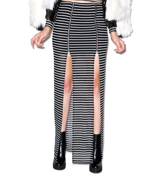 Evil Twin Fall In Line Zip Maxi Skirt