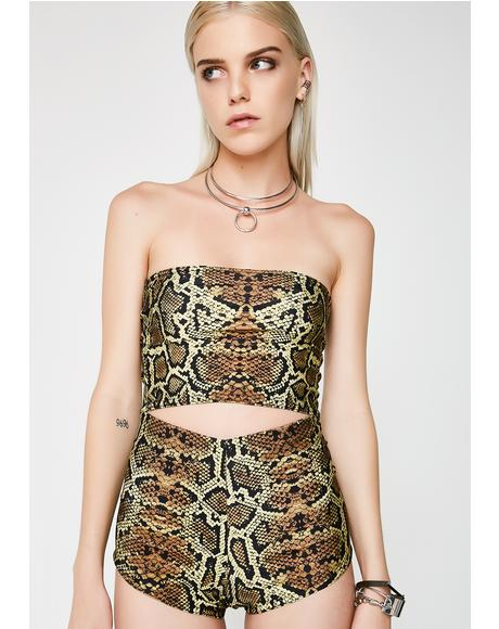 Brown Snake Skin Tube Top