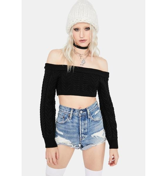Noir Takin' Cues Cable Knit Sweater