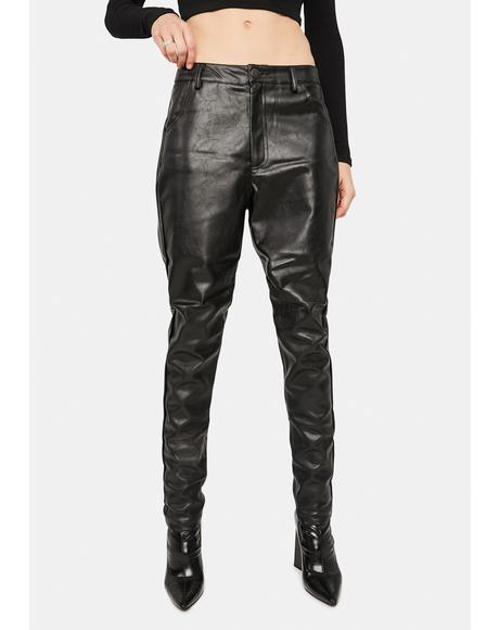 Low Rise Vegan Leather Trousers