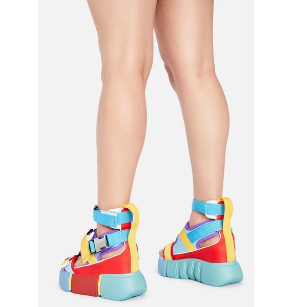 Anthony Wang Rainbow Cranberry Platform Sandals