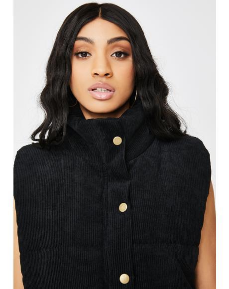 Black Velvet Puffer Vest