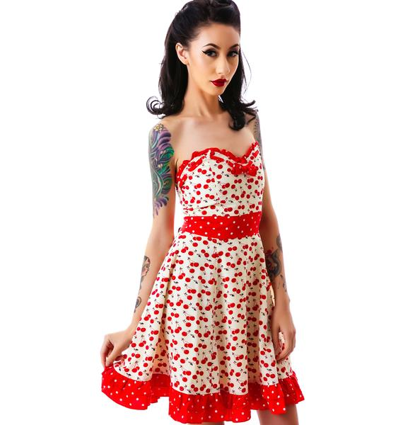 Sourpuss Clothing Erin Cherry Print Dress