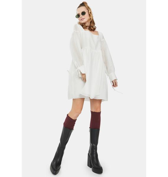Glamorous White Square Neck Babydoll Dress