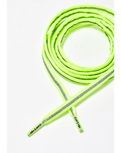 Reflective Neon Lime Yellow Laces