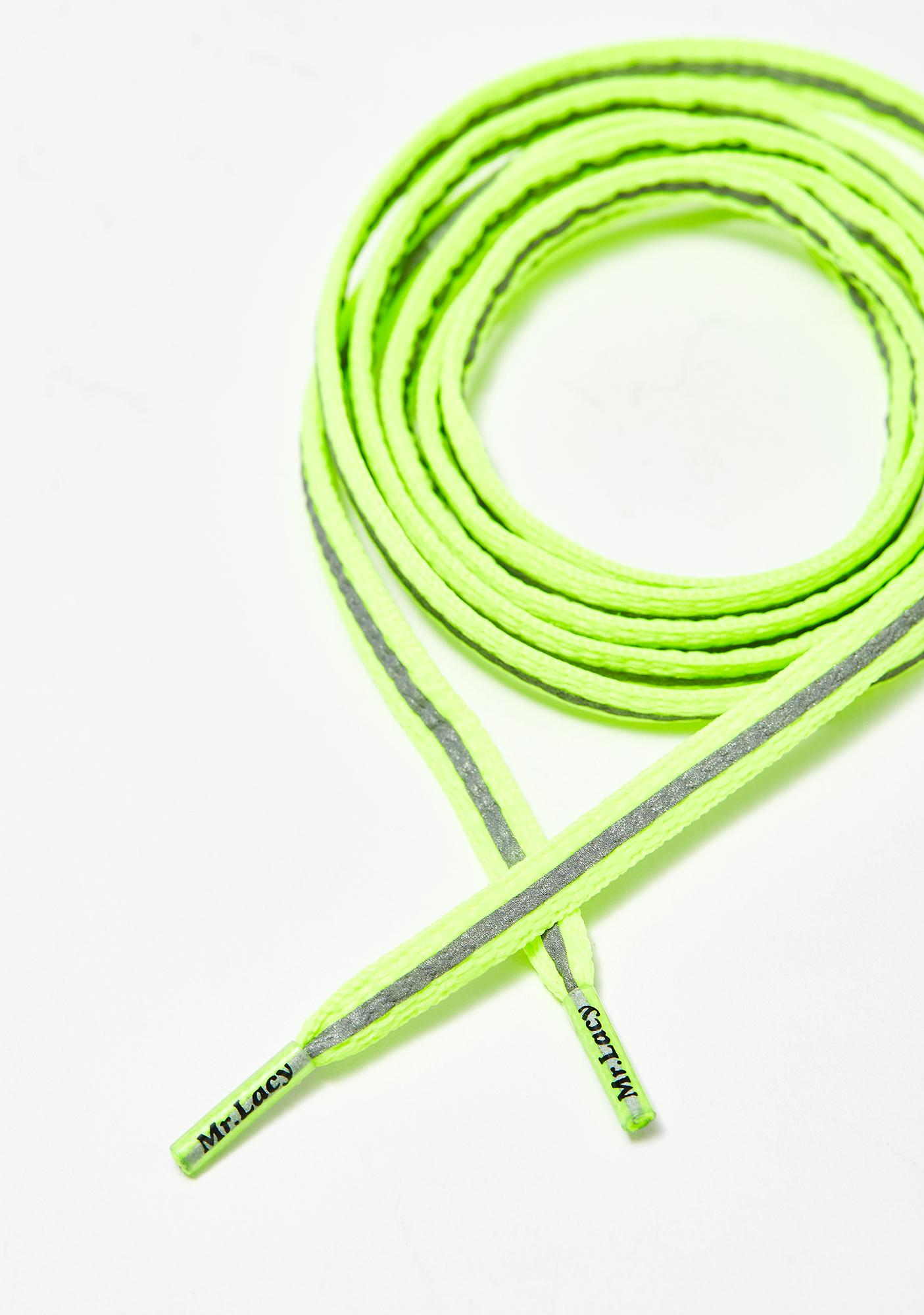 Mr. Lacy Reflective Neon Lime Yellow Laces