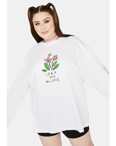 Curve White Leaf Me Alone Graphic Tee
