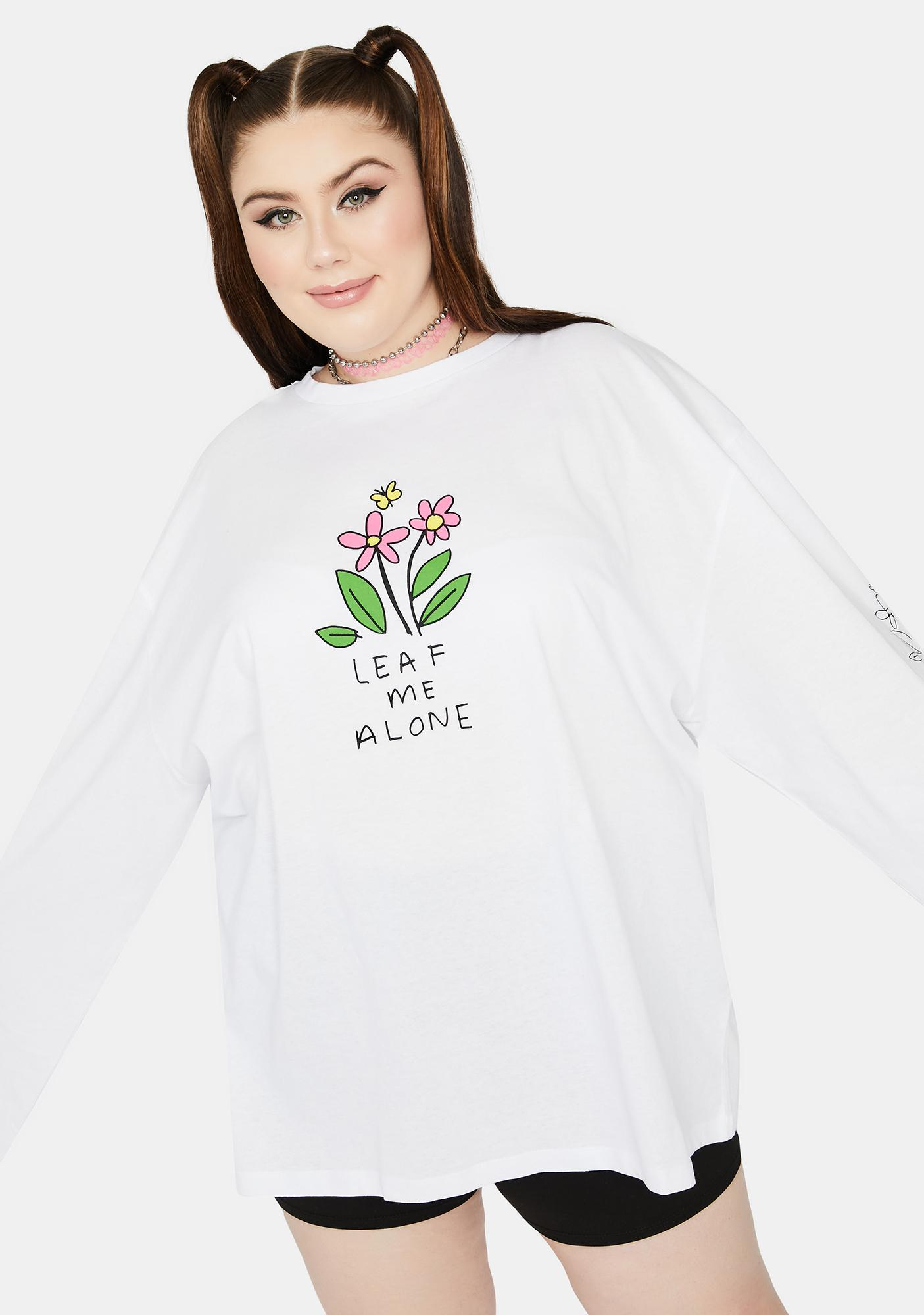NEW GIRL ORDER Curve White Leaf Me Alone Graphic Tee