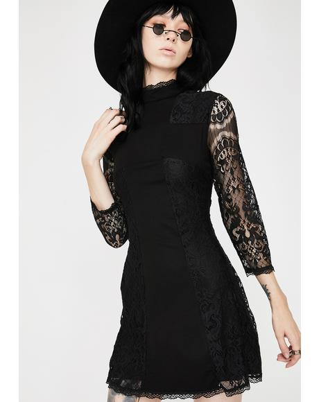 Crossed Over Lace Dress